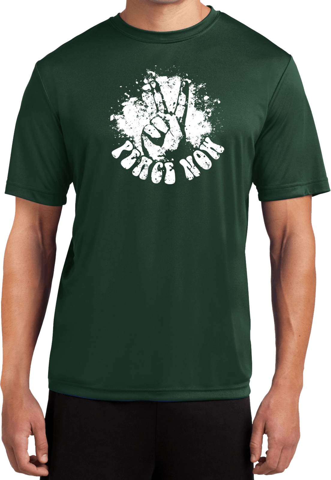 Mens peace shirt peace now moisture wicking tee t shirt for Sweat wicking t shirts
