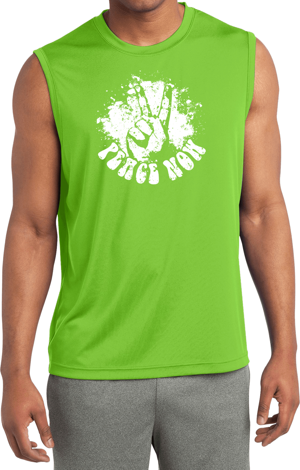 Mens peace shirt peace now sleeveless moisture wicking tee for Sweat wicking t shirts
