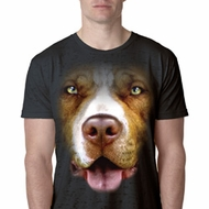 Mens Pit Bull Shirt Big Pit Bull Face Burnout T-Shirt