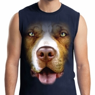Mens Pit Bull Shirt Big Pit Bull Face Muscle Tee T-Shirt