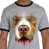 Mens Pit Bull Shirt Big Pit Bull Face Ringer Tee T-Shirt