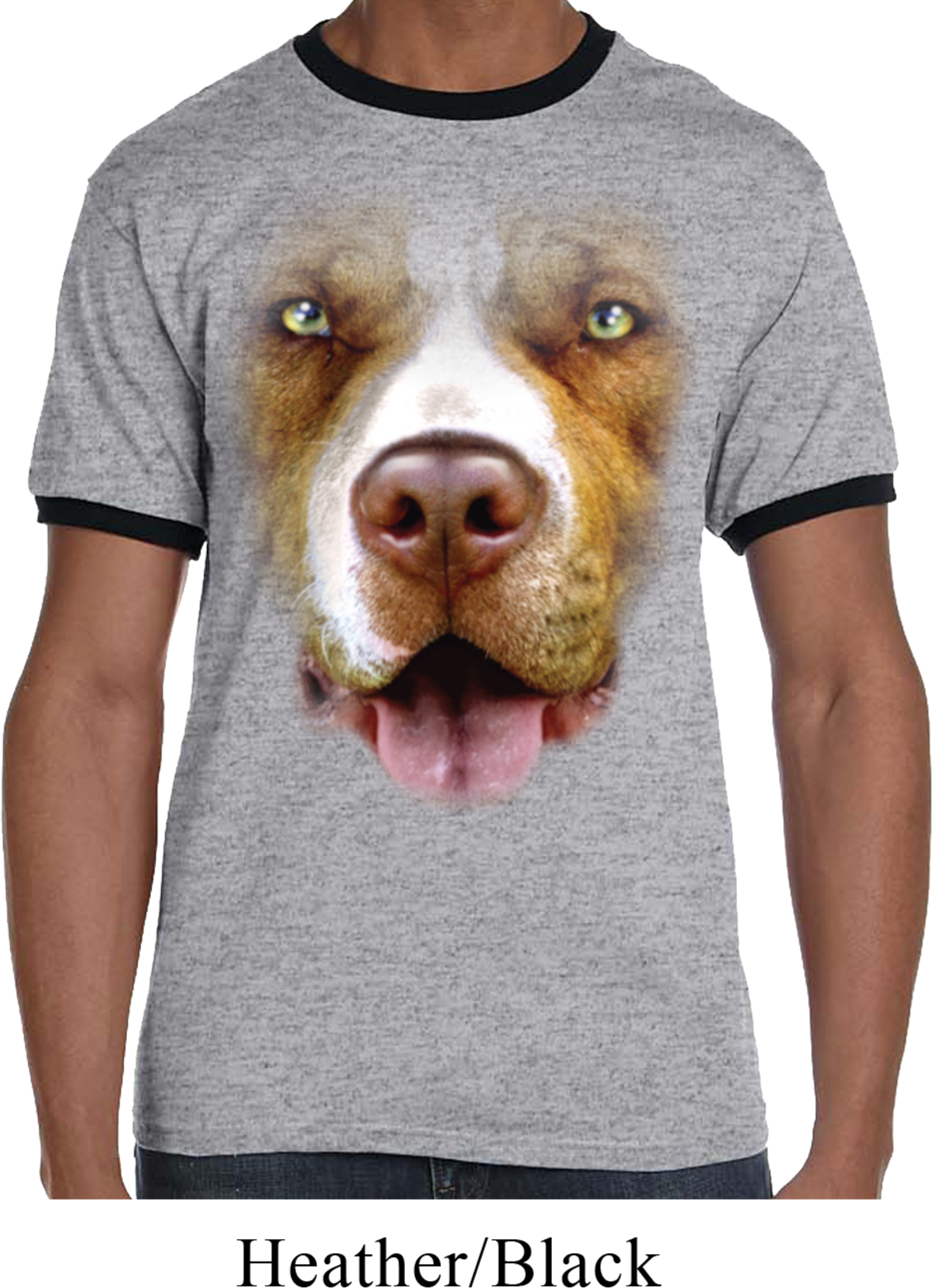 Mens Pit Bull Shirt Big Pit Bull Face Ringer Tee T Shirt
