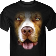 Mens Pit Bull Shirt Big Pit Bull Face Tall Tee T-Shirt