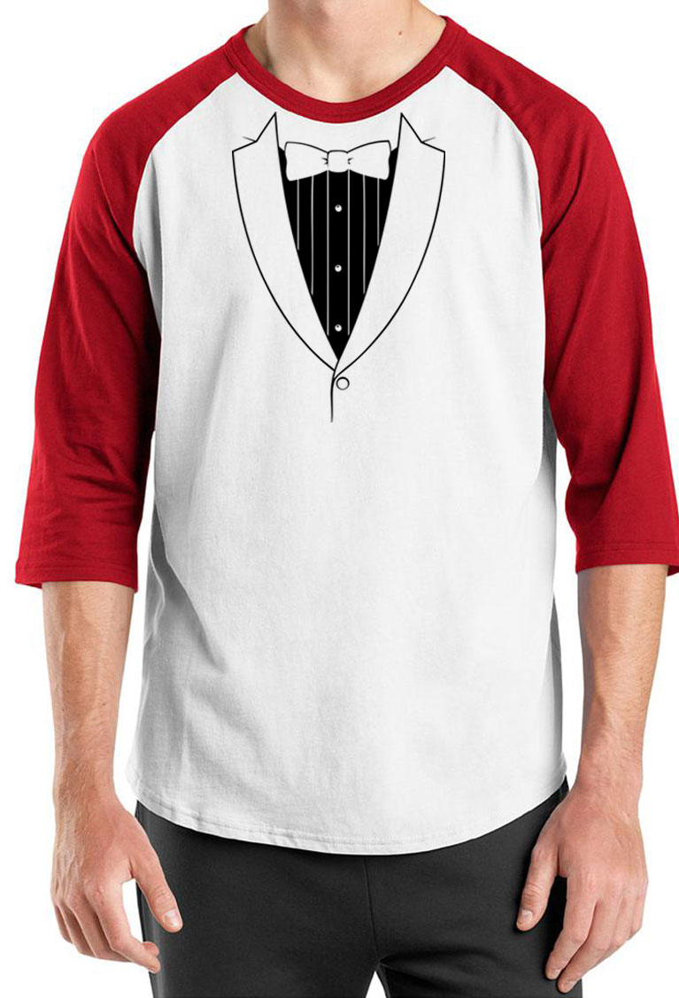 Mens shirt basic black tuxedo raglan tee t shirt mens for Black tuxedo shirt for men