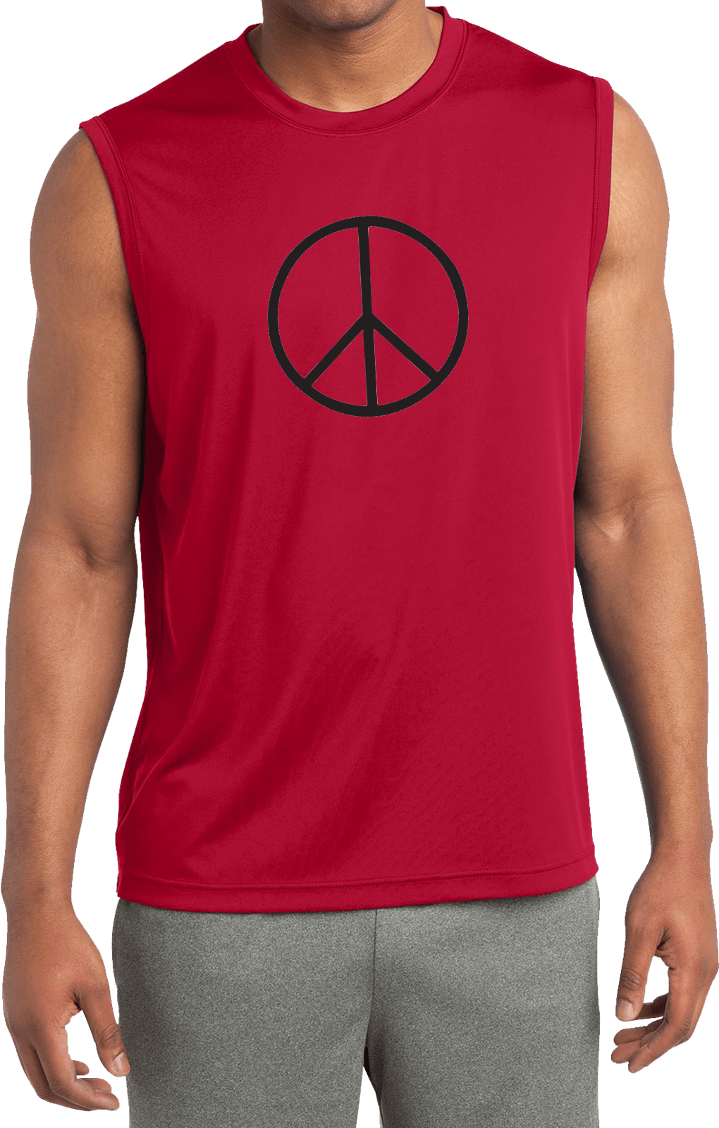 Mens shirt basic peace black sleeveless moisture wicking for Sweat wicking t shirts