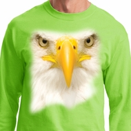 Mens Shirt Big Bald Eagle Face Long Sleeve Tee T-Shirt