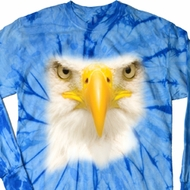 Mens Shirt Big Bald Eagle Face Long Sleeve Tie Dye Tee T-shirt