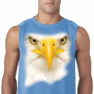Mens Shirt Big Bald Eagle Face Sleeveless Tee T-Shirt