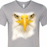 Mens Shirt Big Bald Eagle Face Tri Blend V-neck Tee T-Shirt