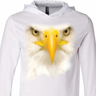 Mens Shirt Big Bald Eagle Face White Lightweight Hoodie Tee