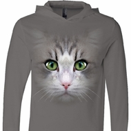 Mens Shirt Big Cat Face Lightweight Hoodie Tee