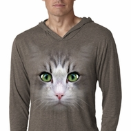 Mens Shirt Big Cat Face Lightweight Hoodie Tee T-Shirt