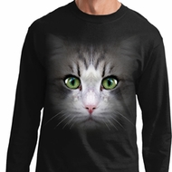 Mens Shirt Big Cat Face Long Sleeve Tee T-Shirt