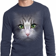 Mens Shirt Big Cat Face Long Sleeve Thermal Tee T-Shirt