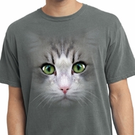 Mens Shirt Big Cat Face Pigment Dyed Tee T-Shirt