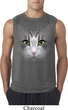 Mens Shirt Big Cat Face Sleeveless Tee T-Shirt