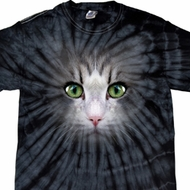 Mens Shirt Big Cat Face Spider Tie Dye Tee T-shirt