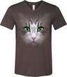 Mens Shirt Big Cat Face Tri Blend V-neck Tee T-Shirt
