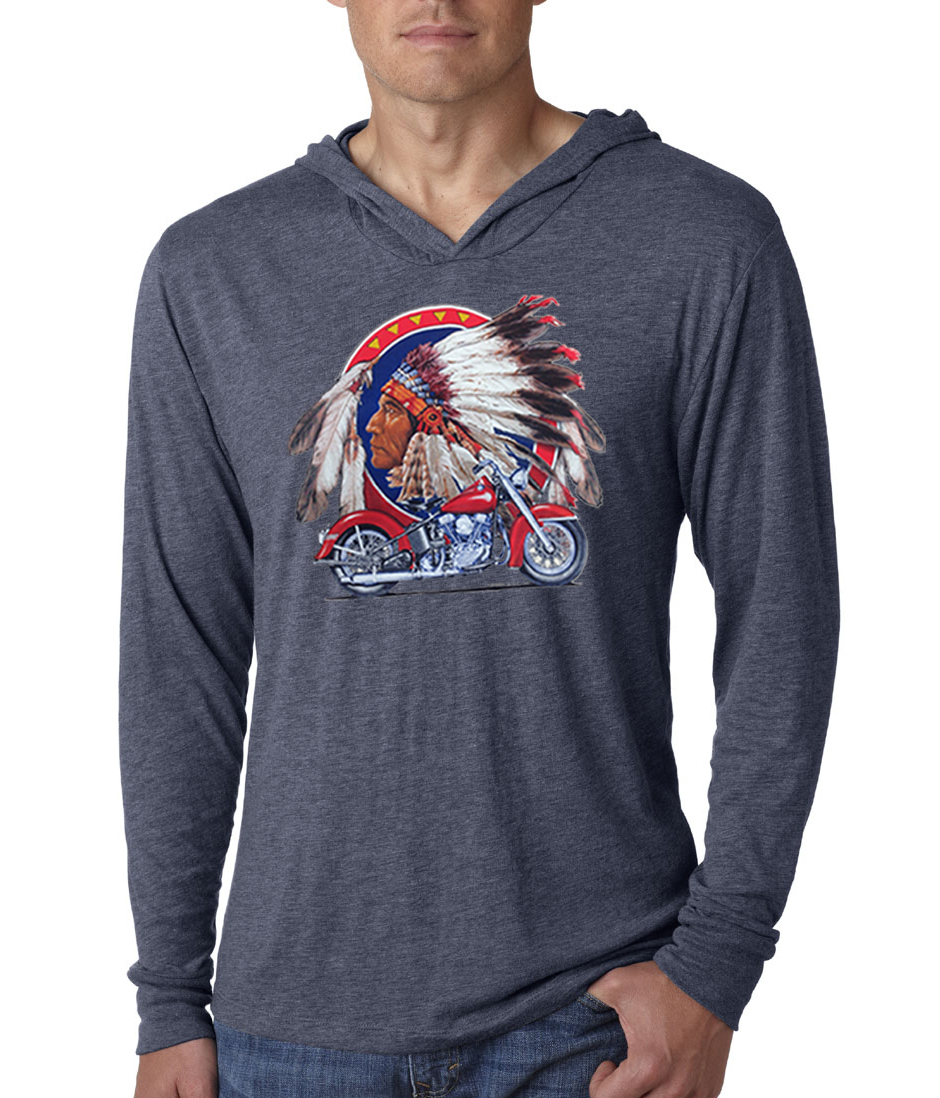 Mens shirt big chief indian motorcycle lightweight hoodie for Big mens t shirts