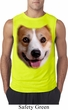 Mens Shirt Big Corgi Face Sleeveless Tee T-Shirt