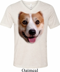 Mens Shirt Big Corgi Face Tri Blend V-neck Tee T-Shirt