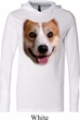 Mens Shirt Big Corgi Face White Lightweight Hoodie Tee