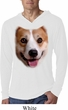 Mens Shirt Big Corgi Face White Lightweight Hoodie Tee T-Shirt
