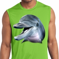 Mens Shirt Big Dolphin Face Sleeveless Moisture Wicking Tee T-Shirt