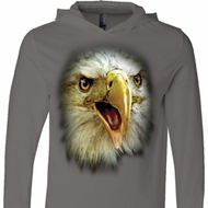 Mens Shirt Big Eagle Face Lightweight Hoodie Tee