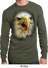 Mens Shirt Big Eagle Face Long Sleeve Thermal Tee T-Shirt