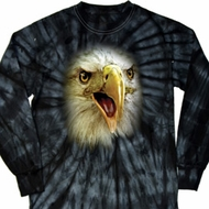 Mens Shirt Big Eagle Face Long Sleeve Tie Dye Tee T-shirt