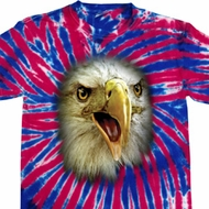 Mens Shirt Big Eagle Face Patriotic Tie Dye Tee T-shirt