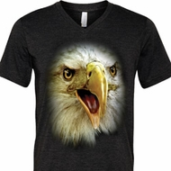 Mens Shirt Big Eagle Face Tri Blend V-neck Tee T-Shirt