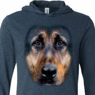 Mens Shirt Big German Shepherd Face Lightweight Hoodie Tee