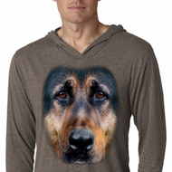 Mens Shirt Big German Shepherd Face Lightweight Hoodie Tee T-Shirt