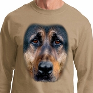 Mens Shirt Big German Shepherd Face Long Sleeve Tee T-Shirt