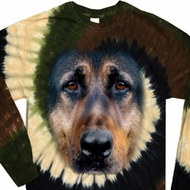 Mens Shirt Big German Shepherd Face Long Sleeve Tie Dye Tee T-shirt