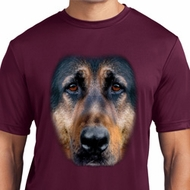 Mens Shirt Big German Shepherd Face Moisture Wicking Tee T-Shirt