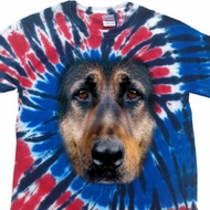 Mens Shirt Big German Shepherd Face Patriotic Tie Dye Tee T-shirt