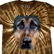 Mens Shirt Big German Shepherd Face Spider Tie Dye Tee T-shirt