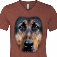 Mens Shirt Big German Shepherd Face Tri Blend V-neck Tee T-Shirt