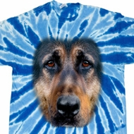 Mens Shirt Big German Shepherd Face Twist Tie Dye Tee T-shirt