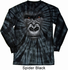 Mens Shirt Big Gorilla Face Long Sleeve Tie Dye Tee T-shirt