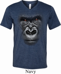 Mens Shirt Big Gorilla Face Tri Blend V-neck Tee T-Shirt