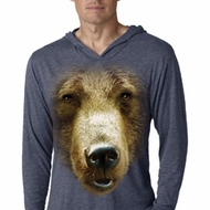 Mens Shirt Big Grizzly Bear Face Lightweight Hoodie Tee T-Shirt