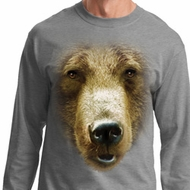 Mens Shirt Big Grizzly Bear Face Long Sleeve Tee T-Shirt