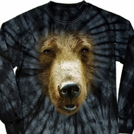 Mens Shirt Big Grizzly Bear Face Long Sleeve Tie Dye Tee T-shirt