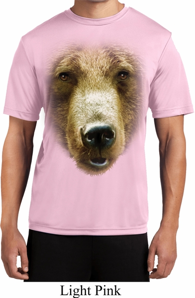 Mens shirt big grizzly bear face moisture wicking tee t for Bear river workwear shirts