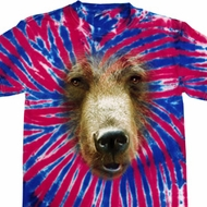 Mens Shirt Big Grizzly Bear Face Patriotic Tie Dye Tee T-shirt