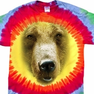 Mens Shirt Big Grizzly Bear Face Premium Tie Dye Tee T-shirt